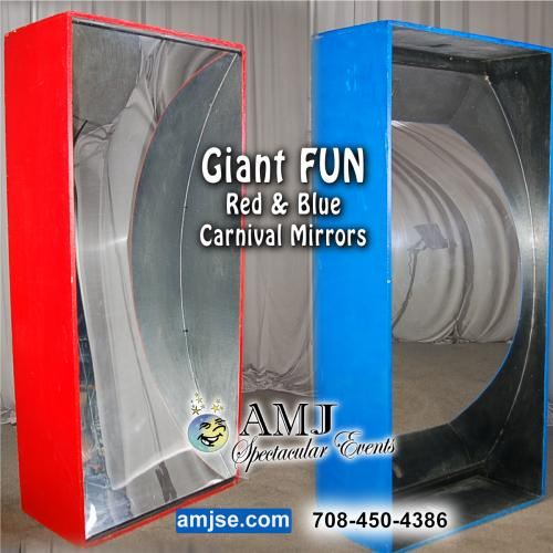 Giant Red & Blue Fun Carnival Mirrors